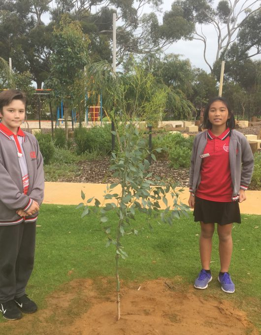 Michael and Abby with their newly planted tree